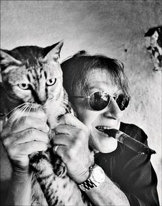 Jacques Dutronc (1943) & cat - French singer, songwriter, guitarist, composer, and actor. Photo byPatrick Swirc