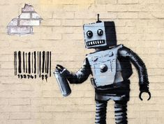Banksy Tagged Coney Island With A Robot In Today's Artwork. The 28th Day of his month long NY residency