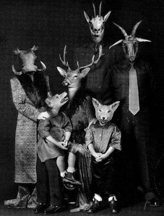 I would love to see a photo album of these strange pics. Just toss it out on the coffee table with some strange comments and see what happens when friends come over. Animal Masks, Animal Heads, Creepy Photos, Strange Photos, Arte Horror, Foto Art, Weird And Wonderful, Photomontage, Pet Portraits