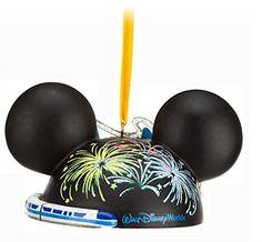 "Disney World Parks Exclusive Ear Hat ""Four Parks, One World"" Christmas Icons Ornament – SORCERER HAT VERSION"