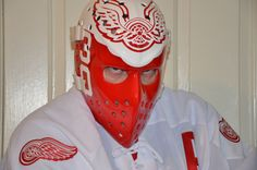 """Ron Low """"wings"""" mask                                 Detroit Red Wings 1977-1978 Hockey Goalie, Ice Hockey, Detroit Hockey, Goalie Mask, Cool Masks, Detroit Red Wings, Mask Design, Nhl, Golden Age"""