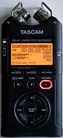 Tascam DR-40, the best hand-held portable recorder available today under $175 you can use with XLR condenser mics!  Does cool things like reduce recording gain automatically if you get too loud, but without the nasty artifacts of a limiter or AGC.  Plus it can record a second track -12db lower to bail you out if you clip during the perfect take!