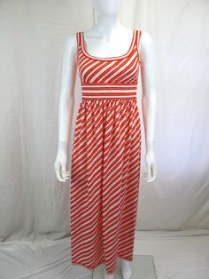 1970s Red and White Stripe Long Maxi Dress