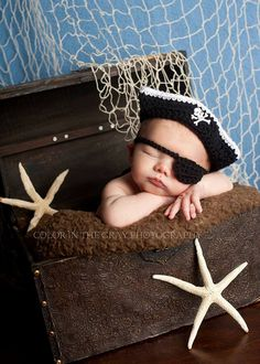Crochet Newborn Pirate Hat and Eye Patch - Photo Prop