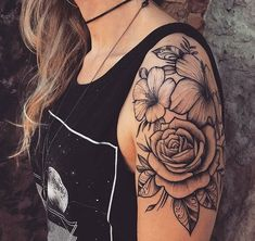 I like the look of this tattoo maybe not the actual type of flowers. maybe do peony Flower Arm Tattoos, Hibiscus Flower Tattoos, Floral Tattoos, Sunflower Tattoos, Hibiscus Flowers, Pretty Tattoos, Cute Tattoos, Beautiful Tattoos, Body Art Tattoos