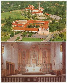 Santa Barbara Mission, California Post Cards. Lot of 5 different out of print post cards, average Ex condition, all color, all unused, all from the late 1960s, 3 are Hi-Fi Cards and 2 are by The Serra Shop. Includes 4 exterior shots of the California mission and seminary, and one interior shot of the church altar.  All 5 cards for $6.50