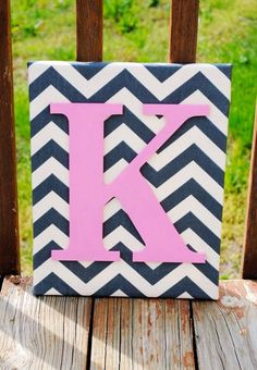 Personalized Chevron Canvas,Chevron Design, Inital Canvas Art, Chevron Decoration on Etsy, $30.00