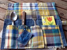 Recycled denim and shirt cutlery roll tutorial - Újrahasznosított farmer és ing evőeszköztartó, útmutató Recycled Denim, Recycled Fabric, Farmer, Tableware, Upcycled Crafts, Dinnerware, Tablewares, Place Settings