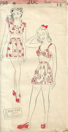 Vintage 40s Sewing Pattern Swimsuit Bathing door studioGpatterns, $42.50