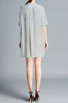 Striped Stand Neck Loose Fitting Dress - WHITE S