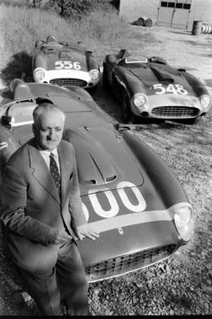 "Enzo FERRARI! With three ""Millia Miglia"" cars."