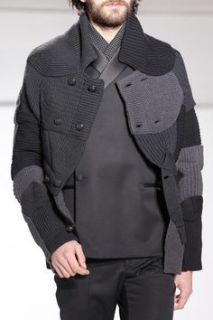 Maison Martin Margiela fall 2013...absolutely stunning, layered menswear...look at the patchwork details in the cardigan and the asymmetrical black blazer!!!