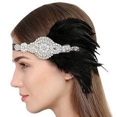 Vintage 1920s Flapper Headbands Gatsby Feather Headpieces BLK #FAYBOX