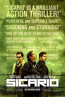 Sicario is a 2015 American action crime thriller film directed by Denis Villeneuve and starring Emily Blunt, Benicio del Toro, and Josh Brolin. Written by Taylor Sheridan, the film is about a principled FBI agent who is enlisted by a government task force to bring down the leader of a powerful and brutal Mexican drug cartel. Sicario was selected to compete for the Palme d'Or at the 2015 Cannes Film Festival. Distributed by Lionsgate,