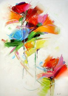 Great energy in this watercolor painting of flowers.                                                                                                                                                                                 More