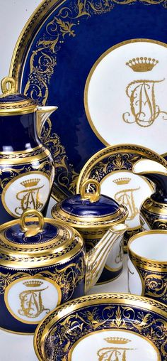 Cobalt and Gold Gilt china from the Imperial Lomonosov Porcelain Factory in St. Petersburg, Russia. 18th-19th centuries