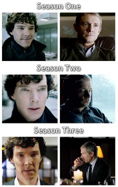 Sherlock season 1-3. Can we just take a moment to appreciate that Sherlock's expression for 3 is identical to John's expression for 1