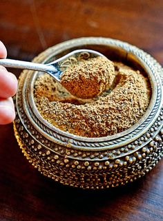 Moroccan Seven Spice Mix - a beautiful mixture of fresh, ground spices that include black pepper, ginger, turmeric, cinnamon, cardamom, clove and nutmeg. Perfect for dry rubs or as a spice addition to meats and soups.