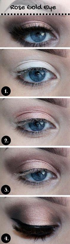 Rose-Gold-Makeup-Tutorial-for-Blue-Eyes.jpg Rose-Gold-Makeup-Tutorial-for-Blue-Eyes. Rose Gold Makeup, Blue Eye Makeup, Skin Makeup, Makeup Eyeshadow, Beauty Makeup, Eyeshadow Styles, Makeup Box, Dress Makeup, Makeup Style