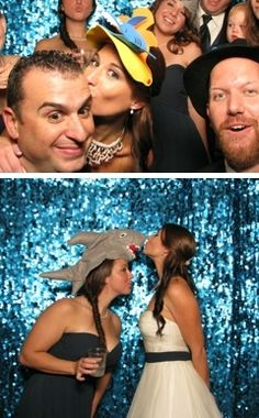 Photobooth idea: Instead of traditional props, have them reflect the wedding's theme. They had sharks, fish, etc. at this aquarium wedding.