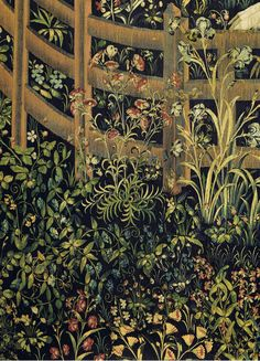 "Tapestry no. 7: The Unicorn in captivity (detail: flowers) | New York City, Metropolitan Museum, The Cloisters The Unicorn Tapestries on ""the hunt of the unicorn"" Series of 7 Flemish tapestries from around 1500 CE"
