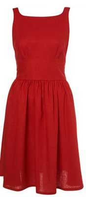 Red linen 50s sundress, Topshop