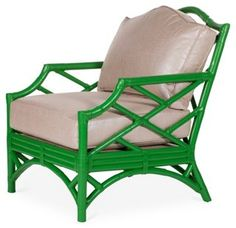 Chinese Chippendale Club Chair, Green