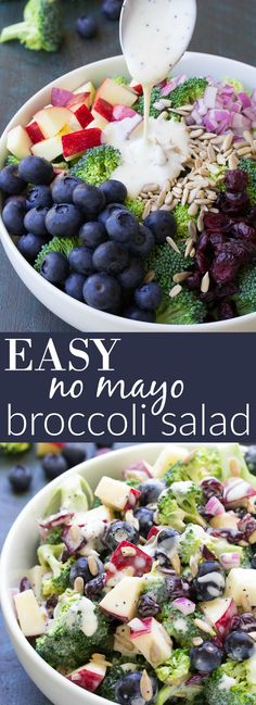 Best Ever No Mayo Broccoli Salad with Blueberries and Apple! This healthy and easy side dish has a creamy poppy seed dressing, cranberries, and sunflower seeds. It will be the hit of your summer BBQ o (Paleo Apple Recipes) Clean Eating Recipes, Cooking Recipes, Clean Eating Salads, Cooking Pork, Cooking Salmon, Healthy Snacks, Healthy Eating, Healthy Mayo, Vegan Mayo