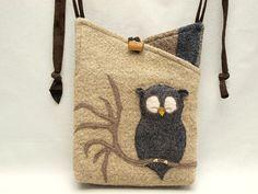 Owl Shoulder Bag Wool Linen  Bag Natural Color by ForMyDarling