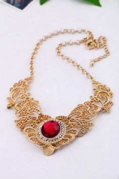 Exquisite Gemstone and Openwork Fringe Embellished Pendant Alloy Necklace For Women Cute Necklace, Necklace Types, Men Necklace, Beaded Necklace, Pendant Necklace, Cheap Necklaces, Fashion Jewelry Necklaces, Cheap Jewelry, Women Jewelry