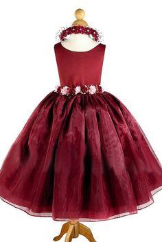 Crimson organza flower girl dress, 2017 girls dress