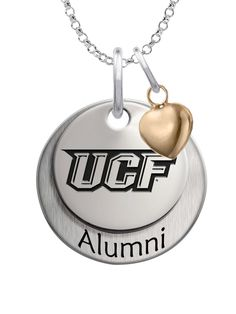 Solid sterling silver Central Florida Knights Alumni Necklace with Heart Accent
