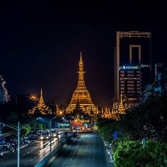 Hey Myanmar. Still so busy even at night with the temple overlooking. . . . #travel #myanmar #longexposure #nightphotography #traffic #lighttrail #temple