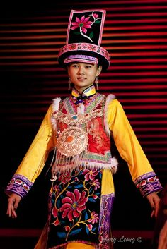 Traditional Costume China from a cultural performance in Jiuzhaigou, Sichuan, China.