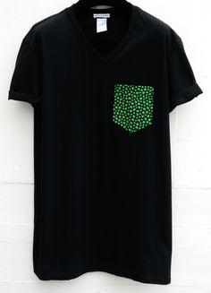 Men's V-Neck Irish Shamrocks Pattern Black by HeartLabelTees Going Out Shirts, Tee Shirt Designs, Pretty Men, Future Fashion, Colorful Shirts, Irish, Pocket Shirts, Menswear, Street Style