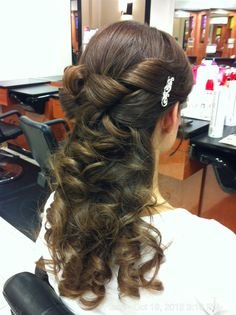 Half up, half down wedding hair.