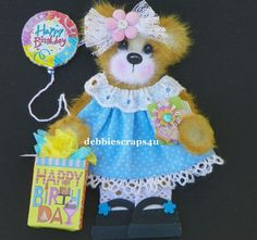 TWAG*DEBBIE*BIRTHDAY BABY GIRL TEAR BEAR PAPER PIECE PREMADE PAGES CARD ALBUM
