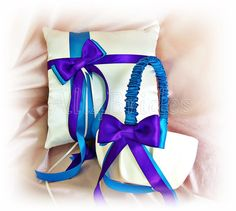 Regency purple and turquoise / malibu weddings ring pillow and flower girl basket.  Ceremony ring cushion and basket set.