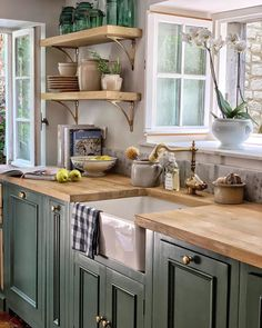 51 Green Kitchen Designs Dream Green Country Kitchen with Kitch. 51 Green Kitchen Designs Dream Green Country Kitchen with Kitchen Sink Farmhouse S Green Kitchen Designs, Country Kitchen Designs, Interior Design Kitchen, Small Country Kitchens, Country Kitchen Renovation, Kitchen Ideas Color, Country Kitchen Ideas Farmhouse Style, English Cottage Kitchens, Country Kitchen Shelves