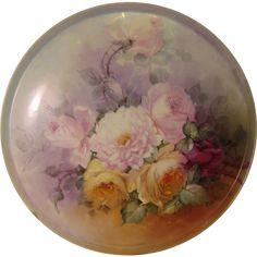 """""""STUNNING VICTORIAN ROSES"""" Absolutely Gorgeous Large 15 1/2"""" Antique Hand Painted Limoges France Serving Tray Charger Plaque Plate Vintage Victorian Heirloom Floral Art China Painting Original ONE-OF-A-KIND Handmade Artistry Fine French Circa 1900"""