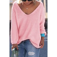 Simple V Neck Long Sleeves Pure Color Loose-Fitting Women's Sweater