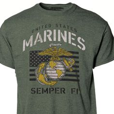 Vintage Marine Flag T-Shirt Marine Corps T Shirts, Usmc T Shirts, Marine Flag, Marine Mom, Gay Marines, Marine Outfit, Semper Fi, Marine Clothing, Finger Exercises