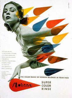 Herbert Bayer, (graphic designer) Title Consumer Noreen Cosmetics ad: foto bewerken met gekleurde mica patronen. Eventueel verbinden aan een kleurenonderzoek.Not Saul Bass, but somehow reminiscent.