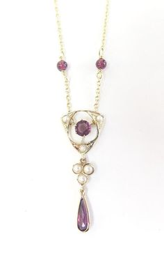 Items similar to Art Nouveau Amethyst & Cultured Seed Pearl Pendant Necklace / 14 karat yellow gold on Etsy Vintage Jewelry 1920s, Gothic Jewelry, Modern Jewelry, Luxury Jewelry, Antique Jewelry, Bijoux Art Nouveau, Art Nouveau Jewelry, Jewelry Art, Jewelry Design