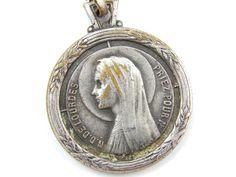 LARGE Vintage Virgin Mary - Our Lady of Lourdes Catholic Medal - Holy Virgo Religious Charm - P32 by LuxMeaChristus on Etsy