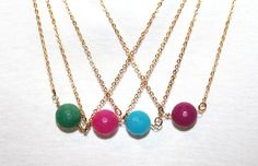 Blue  Green  Pink  Purple Jade Round Necklaces / 10 by JewelrybyOz
