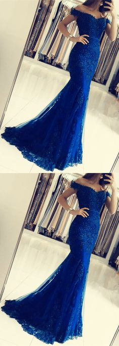 Royal blue mermaid v neck prom dresses lace v neck off the shoulder formal evening gowns