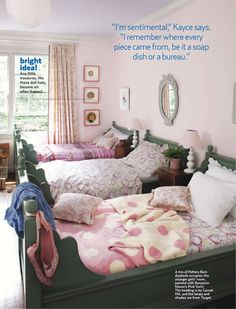 Pink girls' room w/ green Pottery Barn beds
