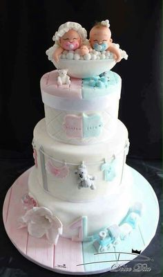pink and blue baby shower cake for twins (Baby Cake) Beautiful Cakes, Amazing Cakes, Twin Baby Shower Cake, Baby Shower Cake Designs, Gateau Baby Shower, Twins Cake, Cakes For Twins, Kid Cakes, Cute Cakes