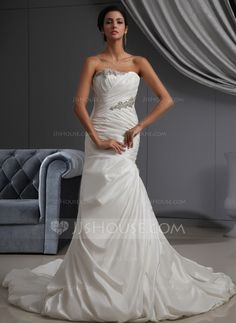 Wedding Dresses - $214.99 - Mermaid Strapless Cathedral Train Taffeta Wedding Dress With Ruffle Beadwork (002022695) http://jjshouse.com/Mermaid-Strapless-Cathedral-Train-Taffeta-Wedding-Dress-With-Ruffle-Beadwork-002022695-g22695?pos=related_products_3